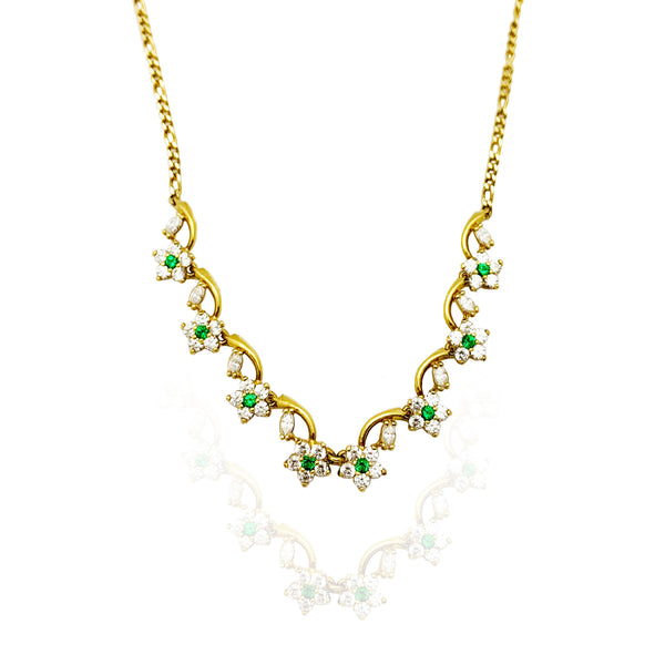 Elegant Flowers CZ Necklace (14K)