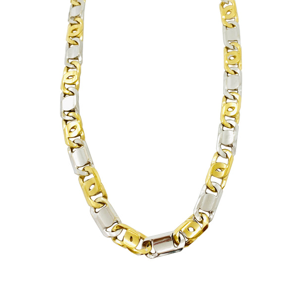 Two-tone Tiger Eye Link Chain (14K).