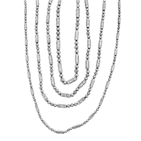 Platinum Barrel and Ball Necklace