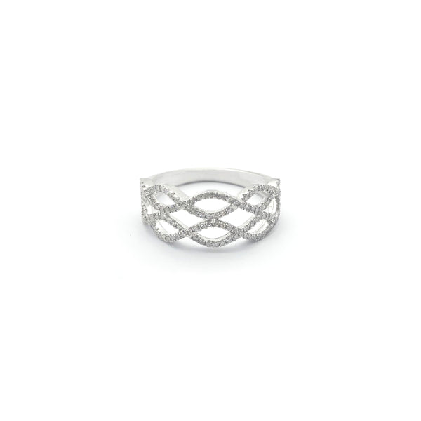 Anel de diamante duplo com fileira infinita (14K)