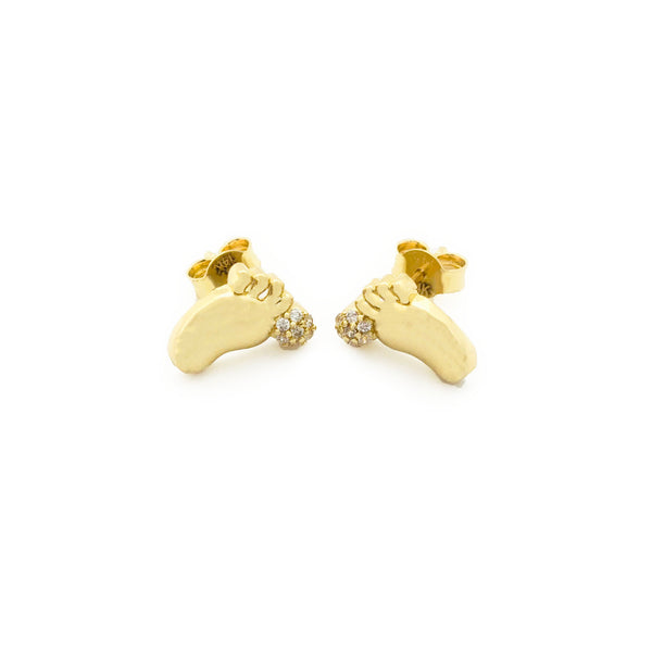 Baby Feet Stud Earrings (14K)