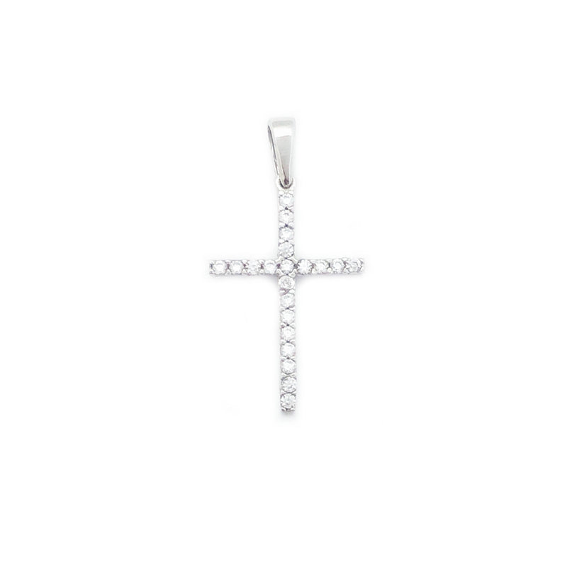 White Gold Single Row CZ Cross Pendant (14K)