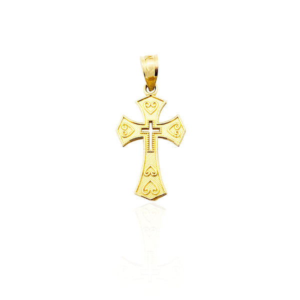Heart & Cross Pendant (14K)