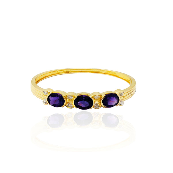 Amethyst & Diamond Bangle Bracelet (14K)