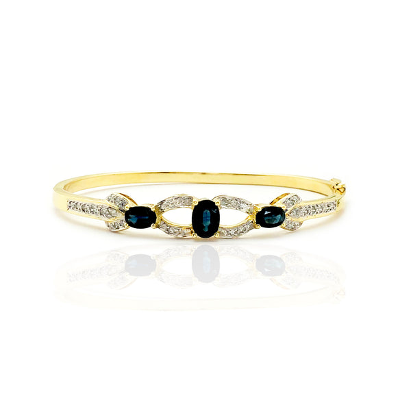 Aegean Blue Sapphire & Diamond Bangle Bracelet (14K)