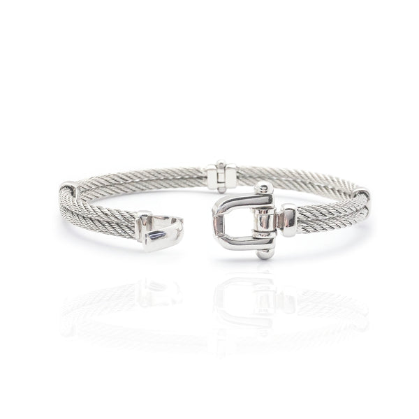Double-Row Rope Bangle Bracelet (14K)