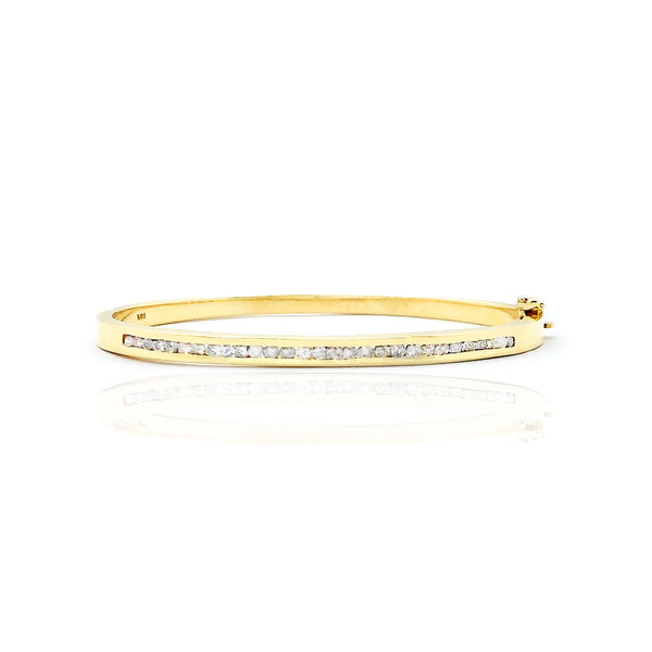 Yellow Gold Diamond Diamond Set Bangle Armband (14K)