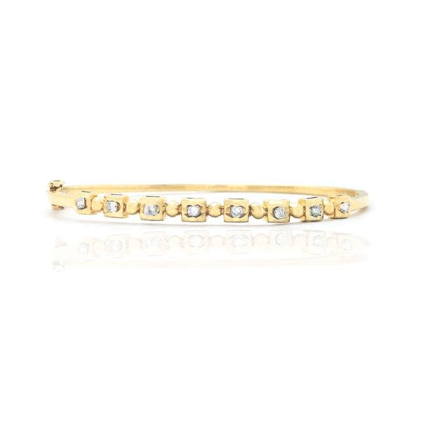Square & Ball Diamond Bangle Bracelet (14K)
