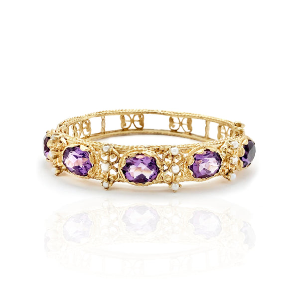 دستبند Amethyst & Pearl Bangle (14K)