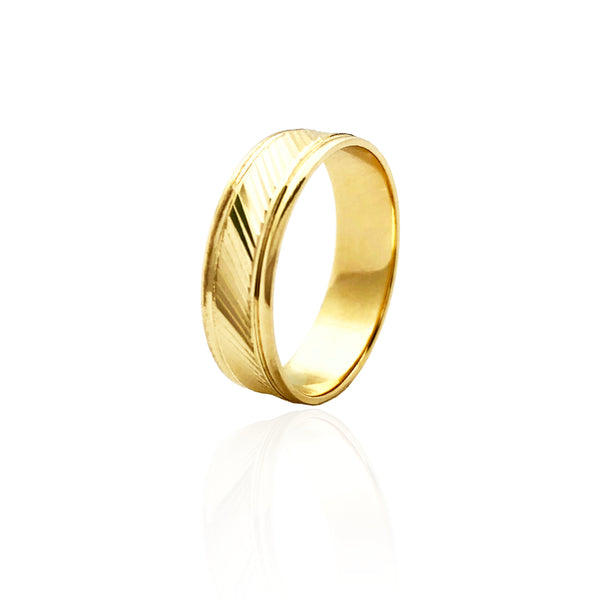 Diagonal Line Diamond-Cut Wedding Band Ring (14K)