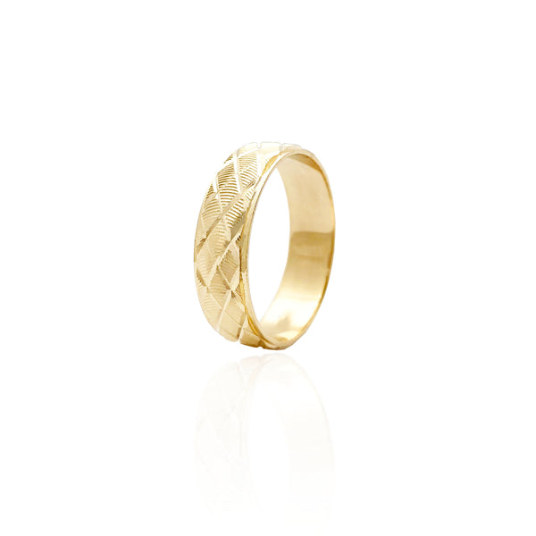 Striata Diamond-Cut Wedding Band Ring (14K)