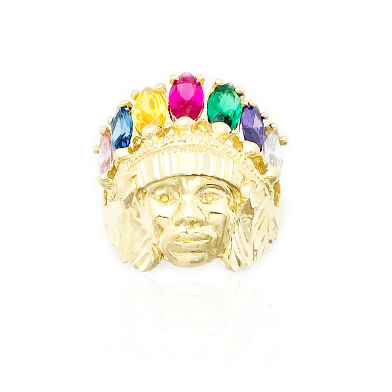 Indian Chief Head Diamond-Cut & Multi-Color CZ Ring (10K)