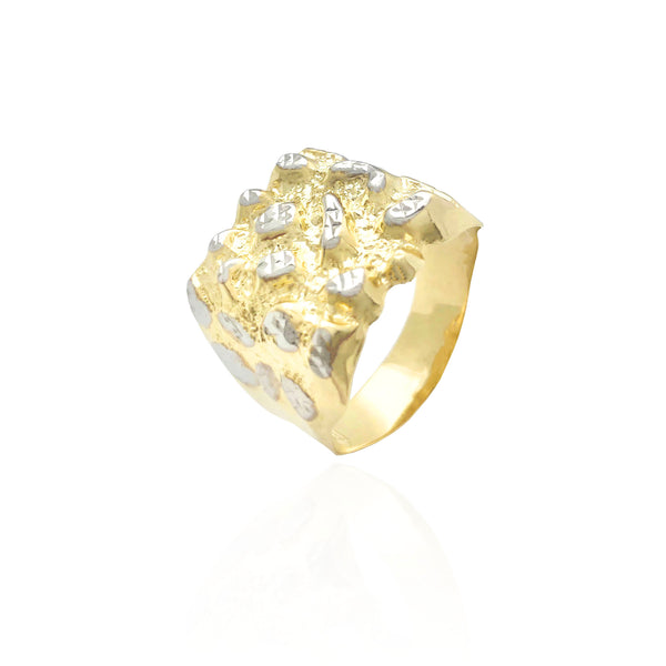 Эки-Tone Square Nugget Ring (10K)