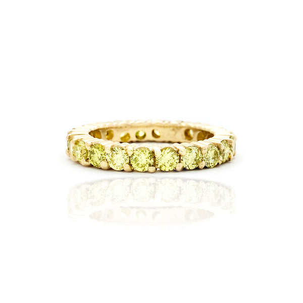 Yellow Diamond Prong Eternity Band Ring (14K) front - Popular Jewelry - New York