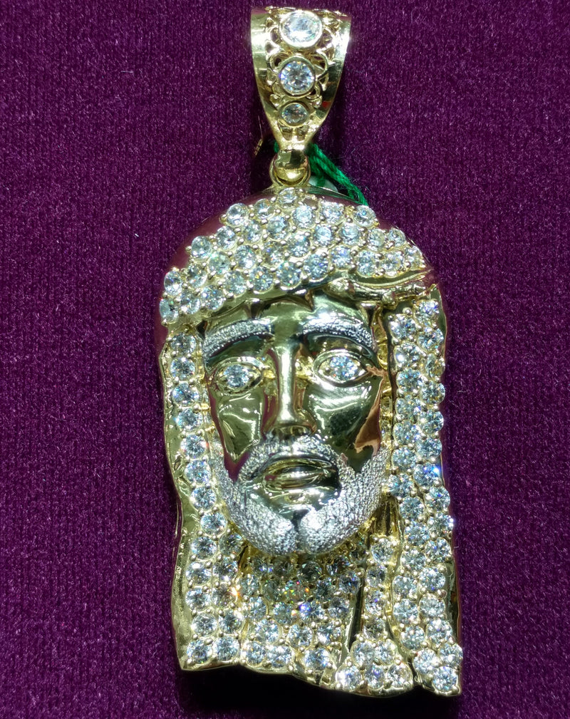 Jesus Head Iced-Out Zirconia 14K - Lucky Diamond 恆福珠寶金行 New York City 169 Canal Street 10013 Jewelry store Playboi Charlie Chinatown @luckydiamondny 2124311180