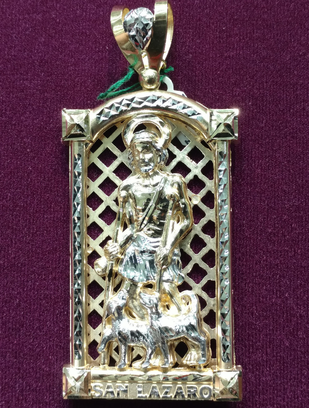 Saint Lazarus Pendant Two-Tone Arch 14K - Popular Jewelry