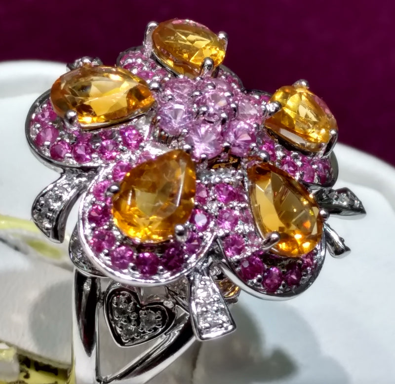Citrine and Pink Sapphire Cocktail Ring 14K - Lucky Diamond 恆福珠寶金行 New York City 169 Canal Street 10013 Jewelry store Playboi Charlie Chinatown @luckydiamondny 2124311180
