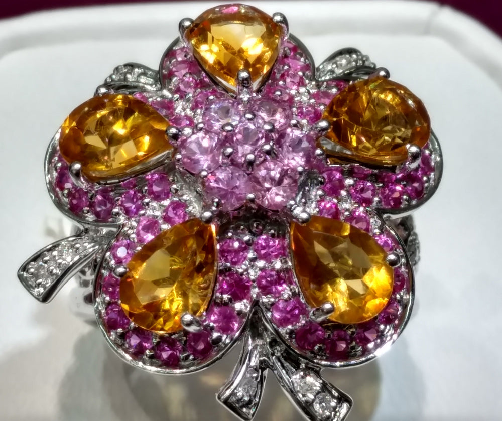 Citrine and Pink Sapphire Cocktail Ring 14K - Popular Jewelry