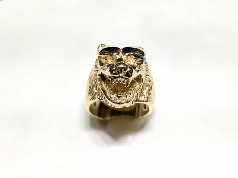 Antique-Finish Wolf Head Ring