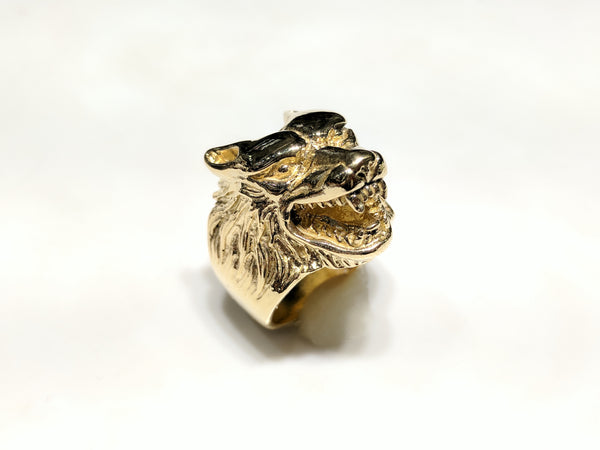 Antique-Finish Wolf башчысы Ring