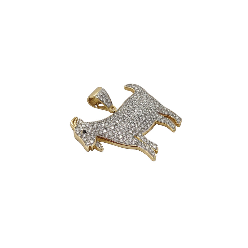 Goat Diamond Iced-Out Pendant (14K)