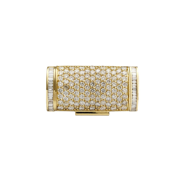 Diamond Iced-Out Solid Sleek Box Clasp (14K)