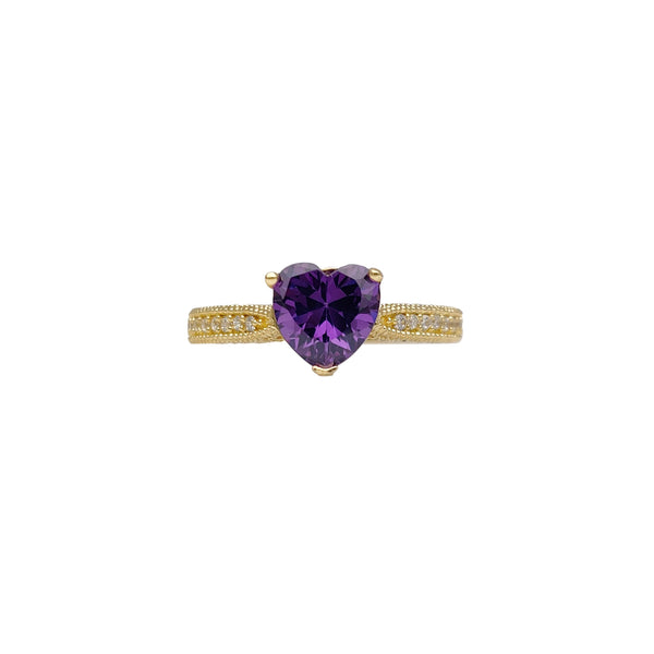Milgrained Micro-Pave Heart Ring (14K) Popular Jewelry New York