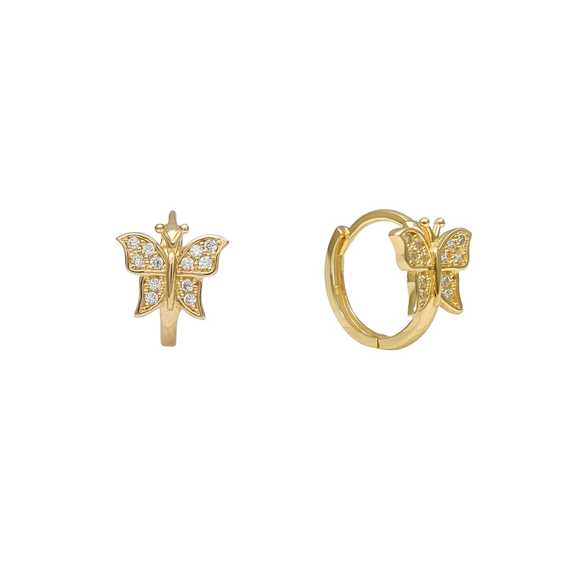 Zirconia Butterfly Huggie Earrings (14K)