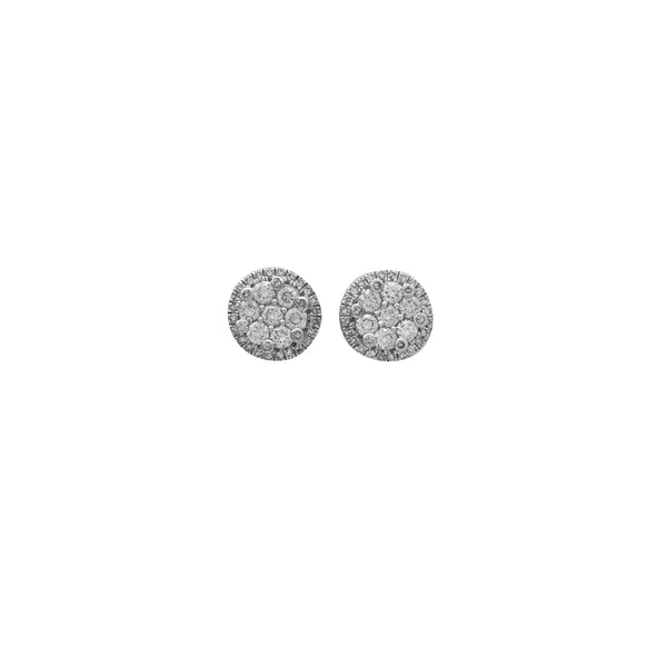 White Gold Diamond Cluster Stud Earrings (14K)