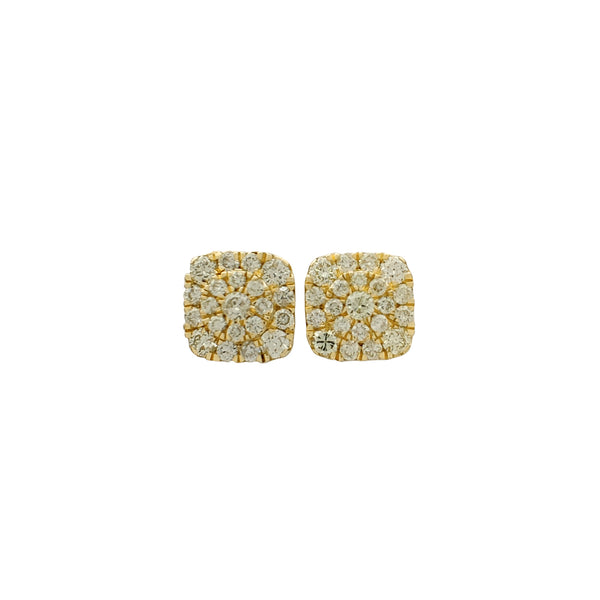 Diamond Cluster Square Stud Earrings (14K)
