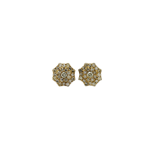 Diamond Cluster Octagonal Stud Earrings (14K) Popular Jewelry New York