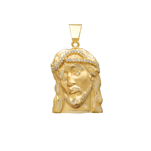 Solid Jesus Head CZ Crown 14K