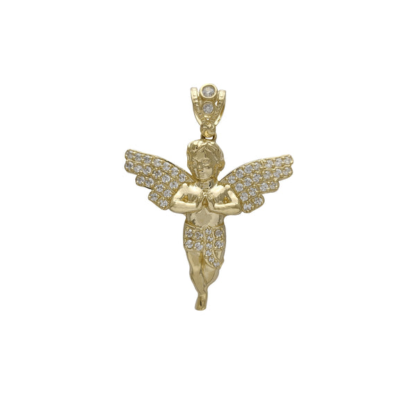 Praying Zirconia Baby Angel Pendant (14K)