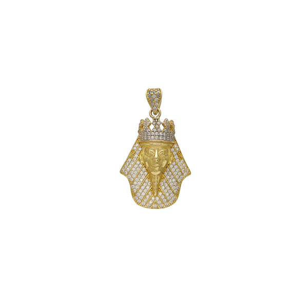 Iced-Out Pharaoh Head Pendant (14K)