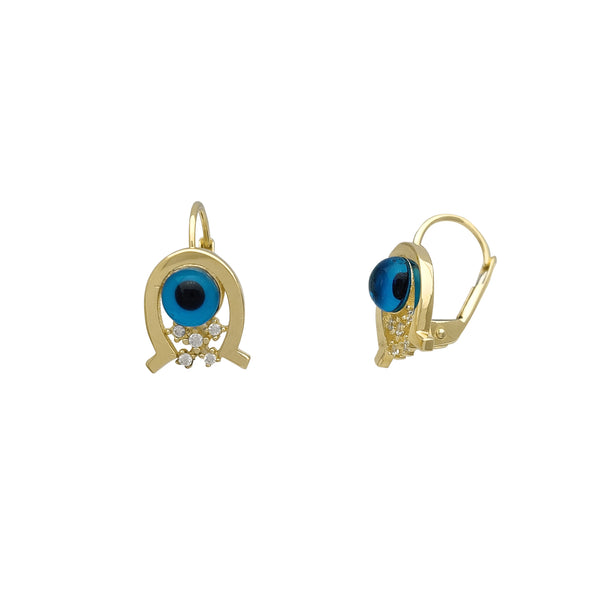 Horseshoe Evil Eye Earrings (14K)