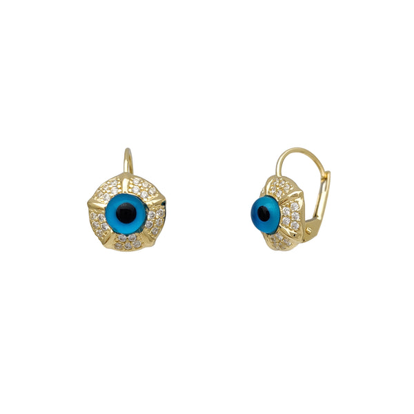 Icy Evil Eye Earrings (14K)