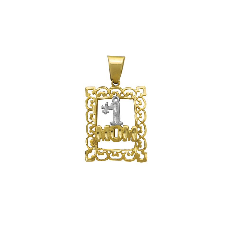 "Filigree Frame ""#1 Mom"" Pendant (14K) Popular Jewelry New York"