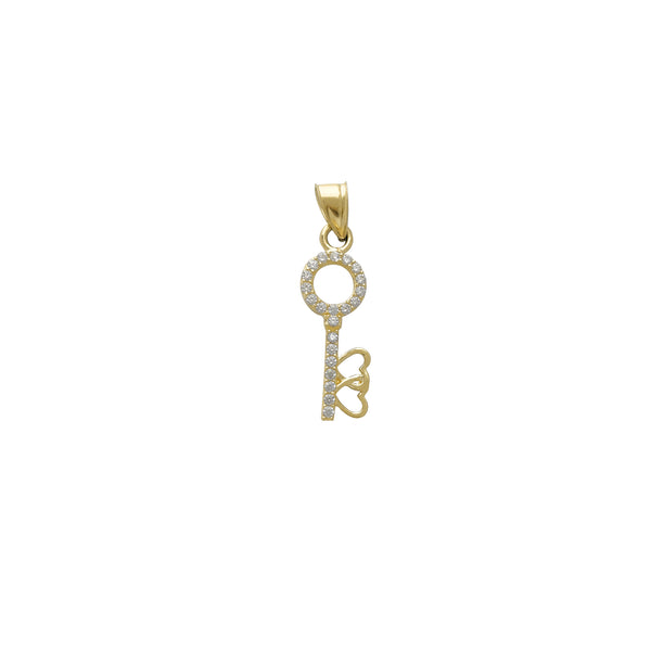 Zirconia Love Key Pendant (14K)