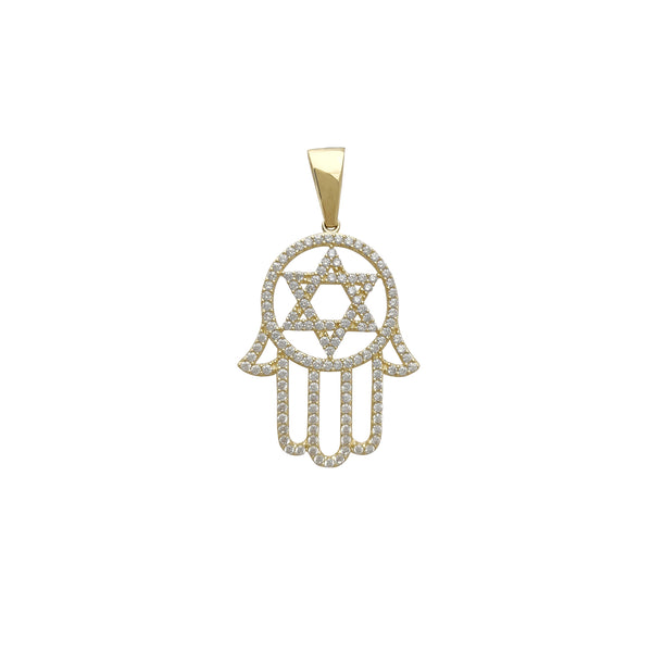 Zirconia Star of David Hamsa Hand Pendant (14K)
