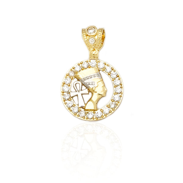 Two-Tone Nefertiti & Ankh Medallion CZ Pendant (14K)