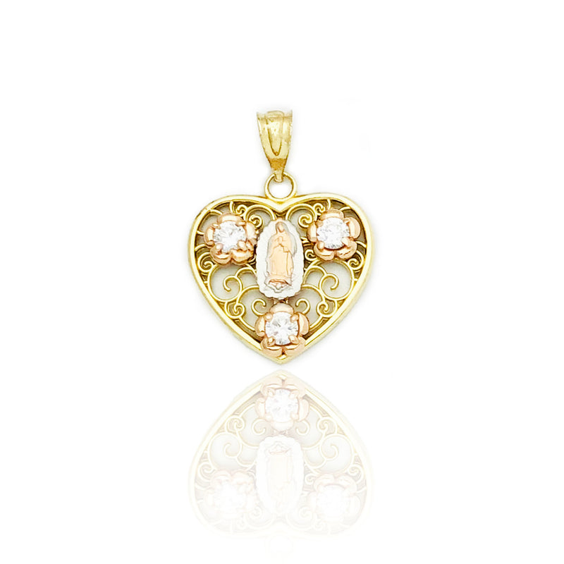 Virgin Mary Wispy Heart Pendant (14K)
