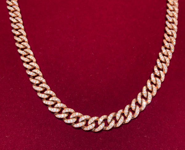 Diamond R/G Cuban Link Chain (14K)