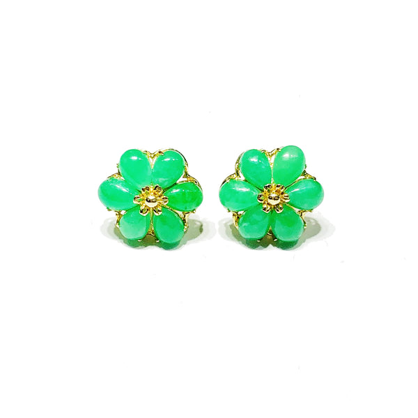 Flower Jade Stud Earrings (14K)