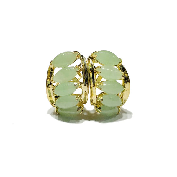 Quintuple Marquise Jade Huggie Earrings (14K)