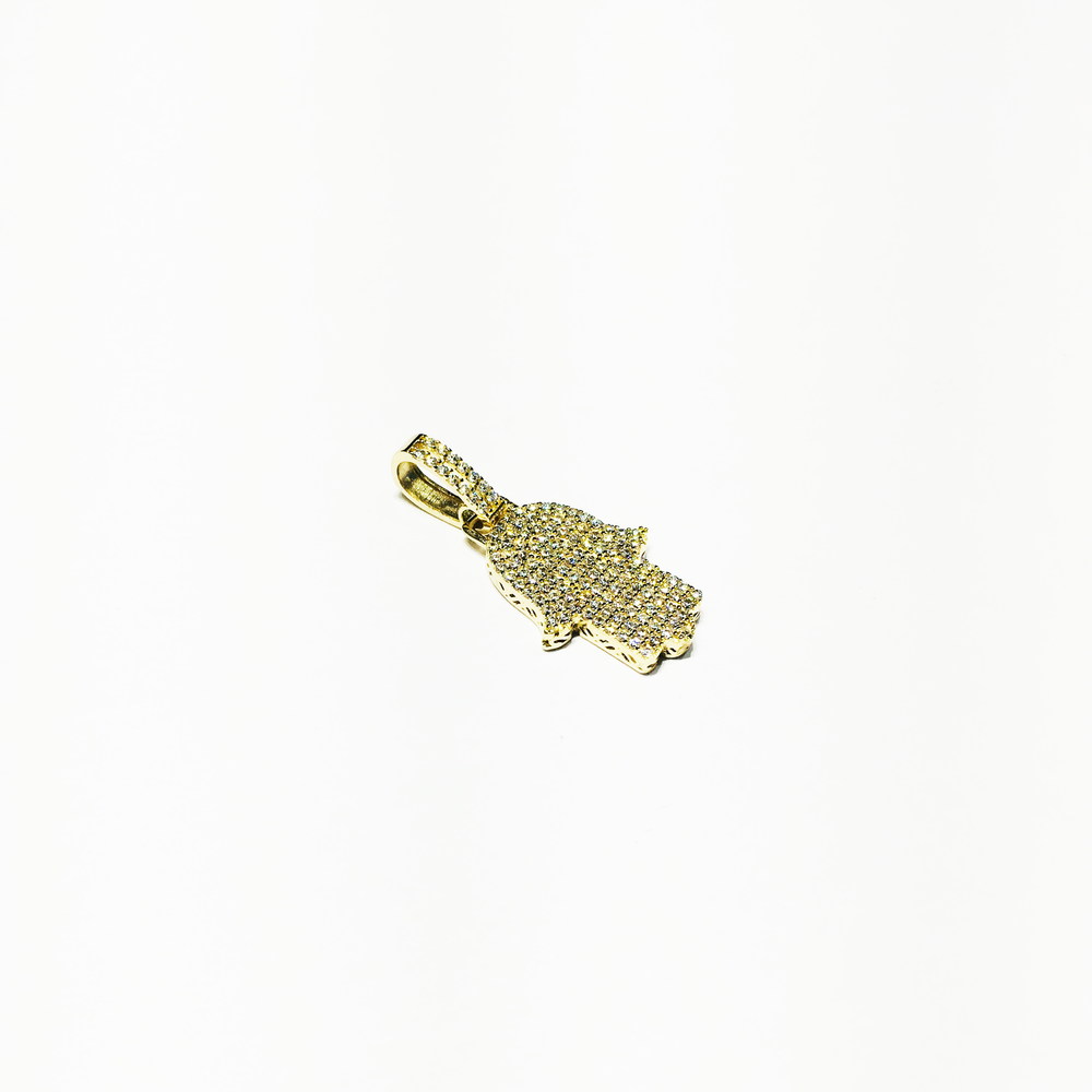 Iced Out Hamsa Pendant 14K Gold