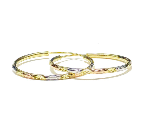 Tri-Color Diamond-Cut Hoop Earring (14K)