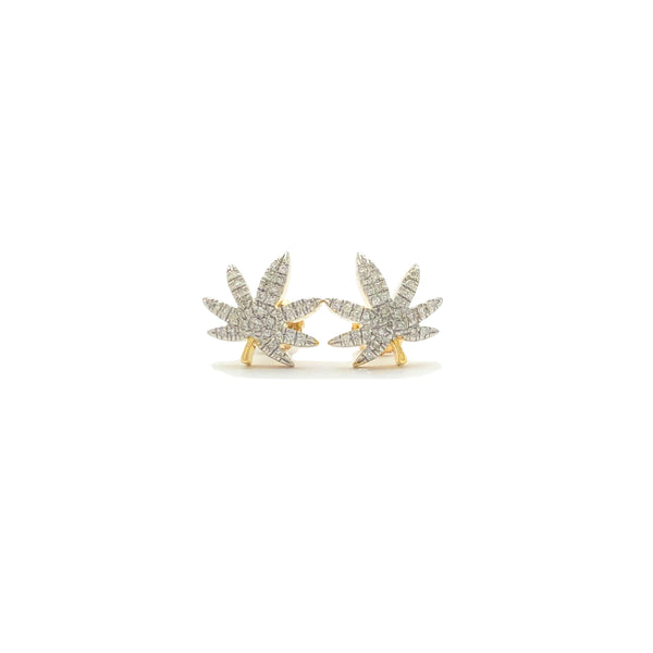 Cannabis Leaf Diamond Earrings (10K)
