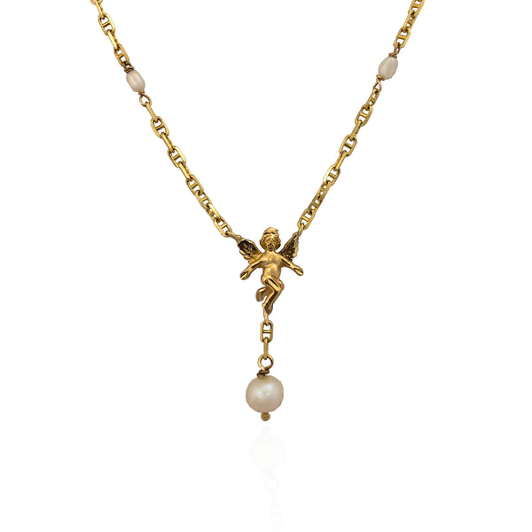 Baby Angel Pearl Rosary Necklace (14K) Popular Jewelry New Yorkl