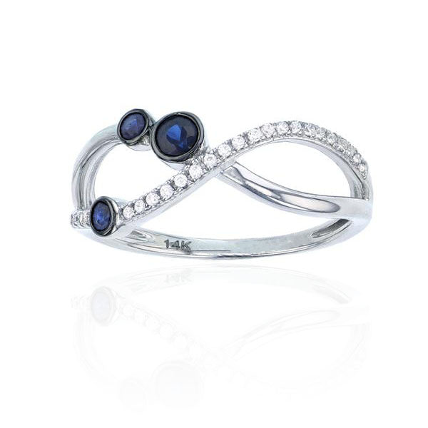 Diamond & Blue Stone Infinity Symbol Ring (14K)