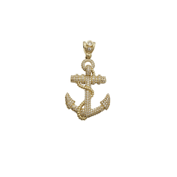 Iced-Out Anchor CZ Pendant (14K)